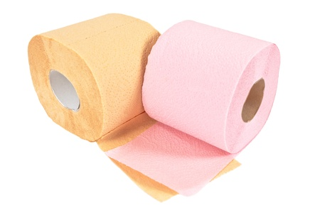 Rolls of toilet paper isolated on white background photo