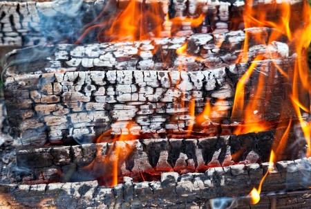 ember: Closeup of a warm fire burning in a fireplace Stock Photo