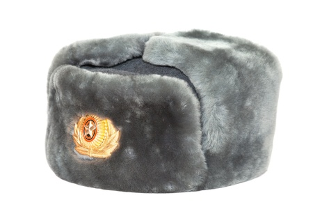 Russian winter army hat on white background