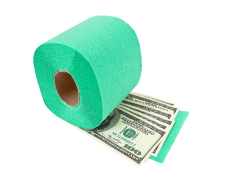 Roll of toilet paper and money isolated on white background photo