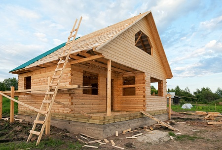 Wooden house under construction Stock Photo - 17346501