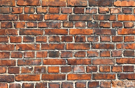 tiled wall: Old weathered red brick wall as background