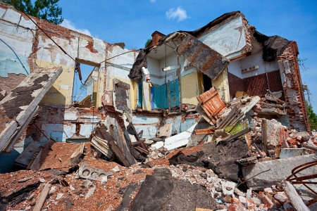Destroyed building, can be used as demolition, earthquake, bomb, terrorist attack or natural disaster