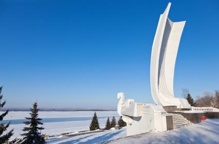 Samara city, Russia, monument boat