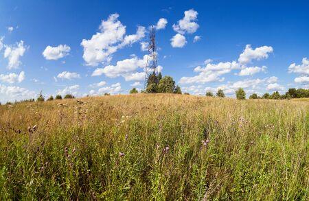 geodetic: Summer landscape with geodetic point in Russia Stock Photo