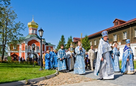 clergyman: VALDAY, RUSSIA - AUGUST 10:The annual sacred religious procession of Icon of Our Lady of Iver, passing in the Novgorod region, Valday. August 10, 2009, Valday, Russia