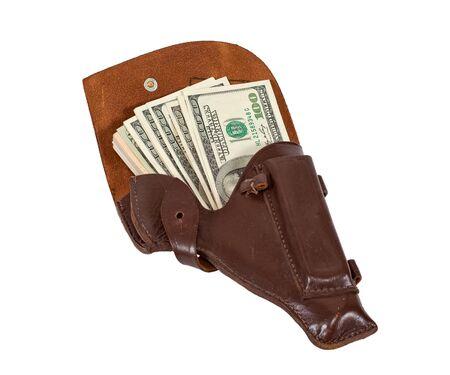holster: La cifra de billetes en la funda de cuero marr�n