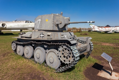 TOGLIATTI, RUSSIA - MAY 2: Old Czech tank LT vz. 38 - PzKpfw 38(t) at the exhibition in the technical museum on May 2, 2013 in Togliatti, Russia