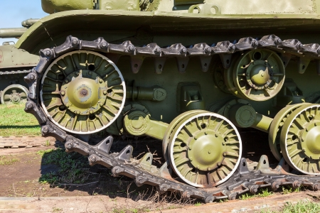 Caterpillars of the old soviet tank Editorial