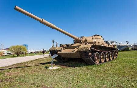 militarily: TOGLIATTI, RUSSIA - MAY 2: Old soviet tank T- 62 at the exhibition in the technical museum on May 2, 2013 in Togliatti, Russia
