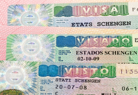 schengen: Schengen Visa on passport page Stock Photo