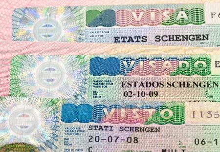 Schengen Visa on passport page Stock Photo