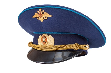 object oppression: Russian military officer cap  Air Force  isolated on white Stock Photo