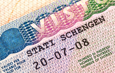 schengen: Schengen visa in passport  Fragment