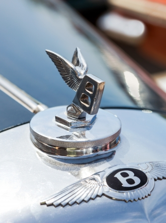 SAMARA, RUSSIA - JUNE 16  Emblem of a Bentley on Rally of retro-cars   Peking-Paris 2013  , June 16, 2013 in Samara, Russia