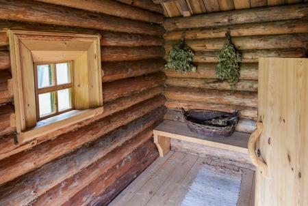 Birch and oak broom for a steam room Standard-Bild