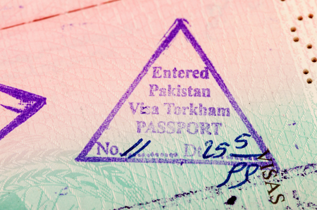 Entry visa stamp in the afghanistan passport