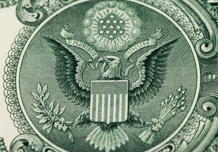 Great Seal of the United States on the reverse of a US Dollar Bill photo