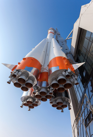 SAMARA, RUSSIA - MARCH 10: Real Soyuz type rocket as monument on March 10, 2012 in Samara. Rocket height together with building - 68 meters, weight - 20 tons. The monument was unveiled on 2001