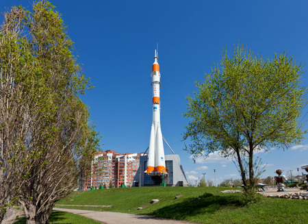 SAMARA, RUSSIA - APRIL 25: Real Soyuz type rocket as monument on April 25, 2012 in Samara. Rocket height together with building - 68 meters, weight - 20 tons. The monument was unveiled on 2001