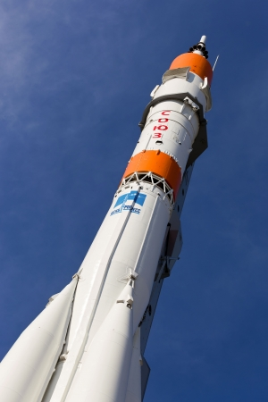 SAMARA, RUSSIA - JUNE 2: Real Soyuz type rocket as monument on June 2, 2012 in Samara. Rocket height together with building - 68 meters, weight - 20 tons. The monument was unveiled on 2001