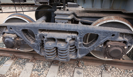 boxcar train: Wheels and suspension of old wagon