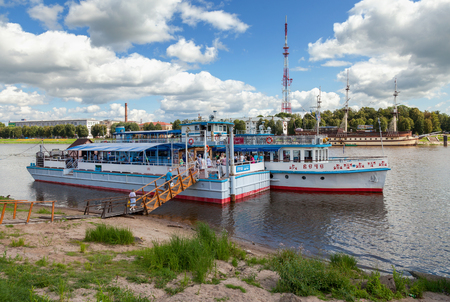 volkhov: NOVGOROD, RUSSIA - AUGUST 10: River cruise passenger catamaran at the moored on Volkhov river on August 10, 2013 in Novgorod. Novgorod - famous ancient Russian city