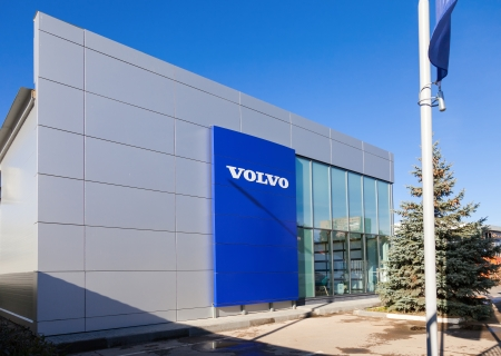 automaker: SAMARA, RUSSIA - OCTOBER 20: Building of official dealer Volvo, October 20, 2013 in Samara, Russia. Volvo is a Swedish multinational automaker company headquartered in Gothenburg, Sweden