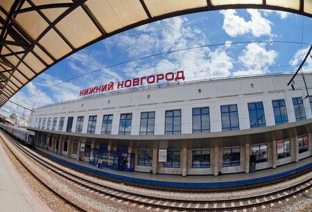 xx century: NIZHNY NOVGOROD, RUSSIA - JULY 1: View of Moskovsky Rail Terminal in July 1, 2012 in Nizhny Novgorod, Russia. The station was built in the 70s of XX century Editorial
