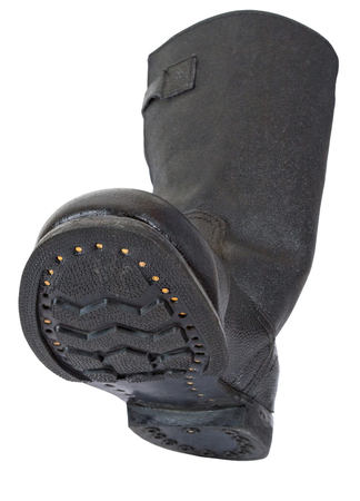 army boots: Russian black army boots isolated on white background