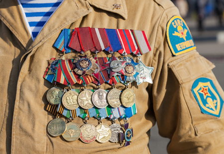 Numerous military awards and medals on the uniform of veteran special troops