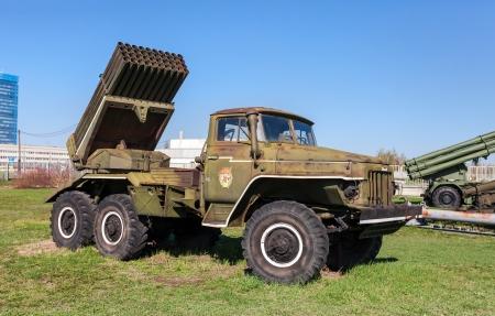 TOGLIATTI, RUSSIA - MAY 2, 2013: BM-21 Grad 122-mm Multiple Rocket Launcher on Ural-375D chassis in Togliatti Technical museum