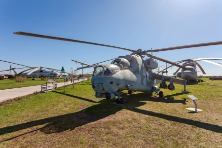 TOGLIATTI, RUSSIA - MAY 2, 2013: The Mil Mi-24V (NATO reporting name Hind) is a large helicopter gunship and low-capacity troop transport in Togliatti Technical museum