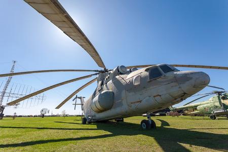 TOGLIATTI, RUSSIA - MAY 2, 2013: The heavy Russian military transport helicopter Mi-26 Halo  in Togliatti Technical museum