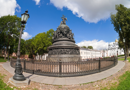 veliky: NOVGOROD, RUSSIA - AUGUST 10, 2013: Bronze monument for Millennium of Russia in the Novgorod Kremlin. The monument was unveiled on 1862. Sculptors M. Mikeshin and I. Shreder