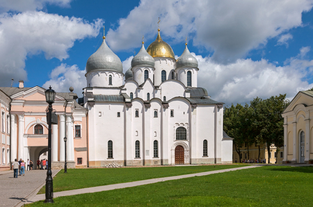 NOVGOROD, RUSSIA - AUGUST 10, 2013: Saint Sophia Cathedral at Novgorod Kremlin. Cathedral was built  between 1045 and 1050