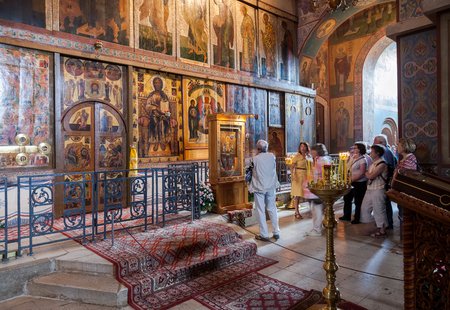 veliky: NOVGOROD, RUSSIA - AUGUST 10, 2013 : Interior of the St. Sophia Cathedral  in Veliky Novgorod, Russia. St. Sophia Cathedral was founded in 1050