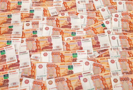 Heap of five thousand russian rubles banknotes as background Stock Photo - 25302105