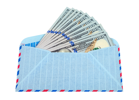 Envelope with cash in dollars isolated on white background photo