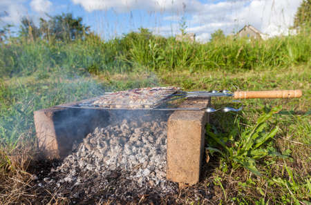 Succulent portion of steak grilling on a grid over hot coals in summertime photo