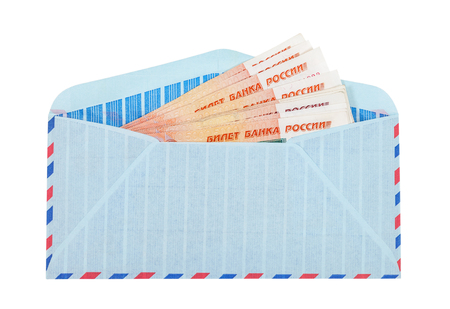 Envelope with cash in russian rubles isolated on white background photo