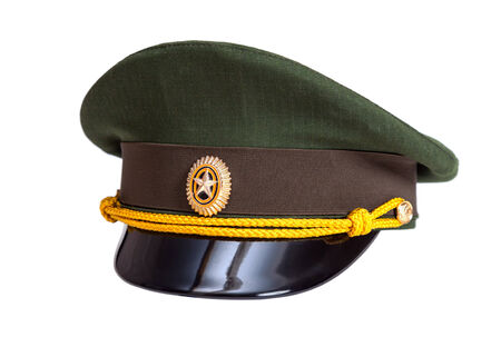object oppression: Cap of Russian army officer  isolated on white background Editorial