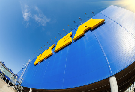 world   s largest: SAMARA, RUSSIA - APRIL 19, 2014  Sign IKEA at IKEA Samara Store  IKEA is the world s largest furniture retailer and sells ready to assemble furniture