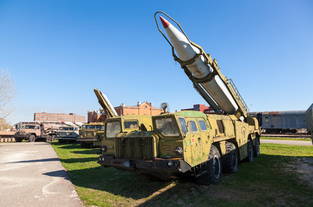 TOGLIATTI, RUSSIA - MAY 2, 2013: Launcher with rocket missile complex Elbrus (Scud B) in Togliatti Technical museum. Scud is a series of tactical ballistic missiles developed by the Soviet Union during the Cold War