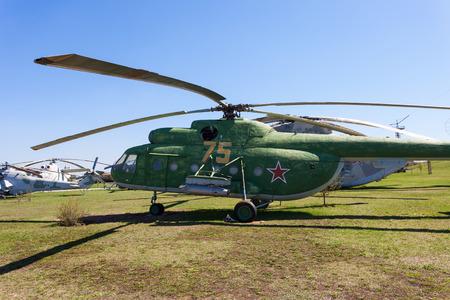 TOGLIATTI, RUSSIA - MAY 2, 2013: Combat transport helicopter on sky in Togliatti Technical museum