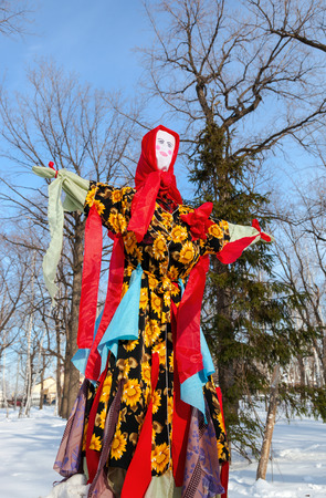 pancake week: RUSSIA, SAMARA - March 2, 2014: Shrovetide in Russia. Big doll for the burning. Maslenitsa or Pancake Week is the Slavic Holiday that dates back to the pagan times