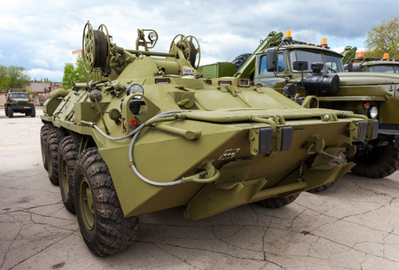 amphibious: SAMARA, RUSSIA - MAY 7, 2013: Wheeled armored recovery vehicle ARV-K based on the BTR-80