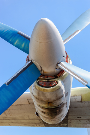 turboprop: Old russian turboprop aircraft at the abandoned aerodrome in summertime