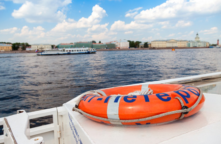 pleasure craft: SAINT PETERSBURG, RUSSIA - AUGUST 7, 2014:  View of the Neva river from the excursion boat in summer day