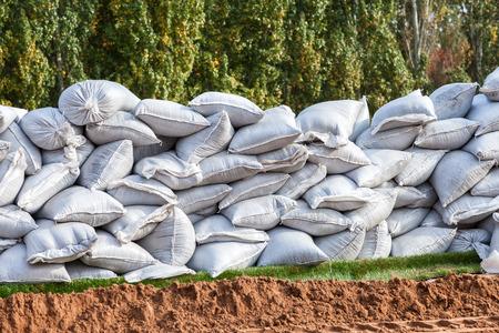 sandbag: Sandbags for flood defense or military use Stock Photo
